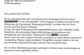 Referenzschreiben von Familie Köhler