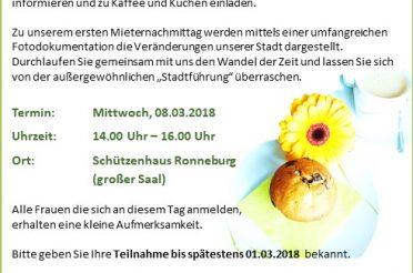 Einladung zum 1. Mieternachmittag im Jahr 2018