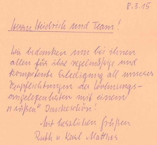 Referenzschreiben von Familie Matthes